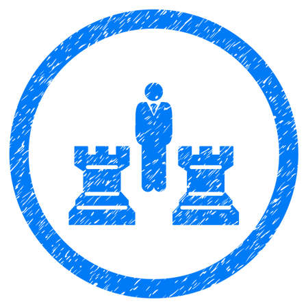 chess rook: Chess Strategy grainy textured icon inside circle for overlay watermark stamps. Flat symbol with dirty texture.