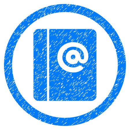 Emails grainy textured icon inside circle for overlay watermark stamps. Flat symbol with unclean texture. Circled dotted raster blue ink rubber seal stamp with grunge design on a white background.
