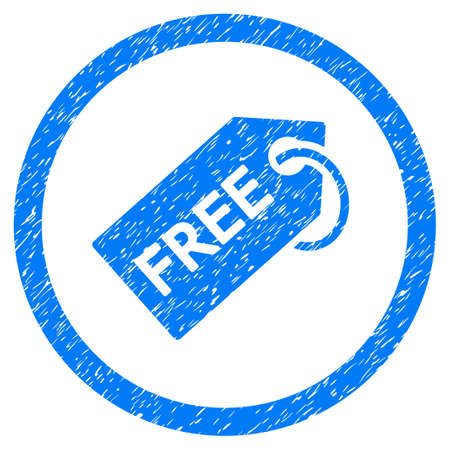 old items: Free Tag grainy textured icon inside circle for overlay watermark stamps. Flat symbol with unclean texture. Circled dotted raster blue ink rubber seal stamp with grunge design on a white background. Stock Photo
