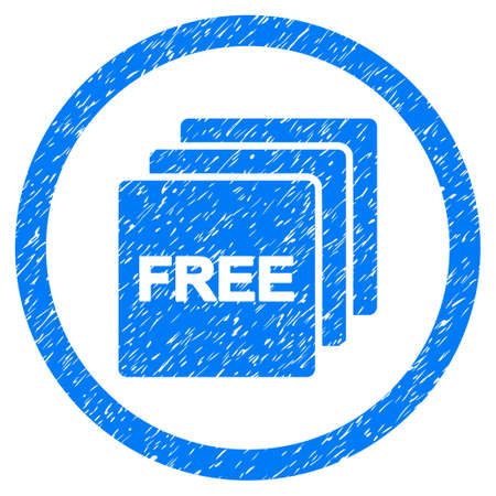 old items: Free grainy textured icon inside circle for overlay watermark stamps. Flat symbol with scratched texture. Circled dotted raster blue ink rubber seal stamp with grunge design on a white background.