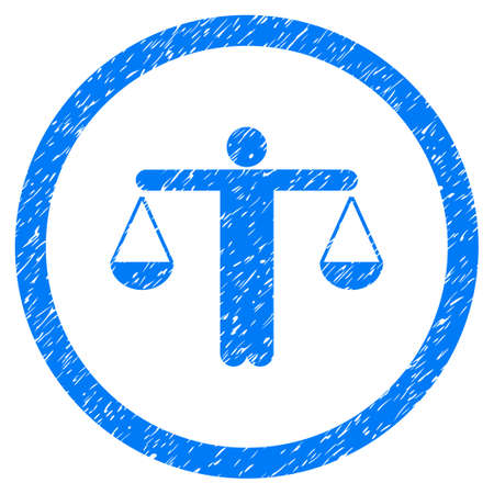 Lawyer grainy textured icon inside circle for overlay watermark stamps. Flat symbol with dust texture. Circled dotted raster blue ink rubber seal stamp with grunge design on a white background.