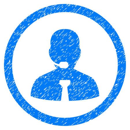 talker: Call Center Operator grainy textured icon inside circle for overlay watermark stamps. Flat symbol with dirty texture.
