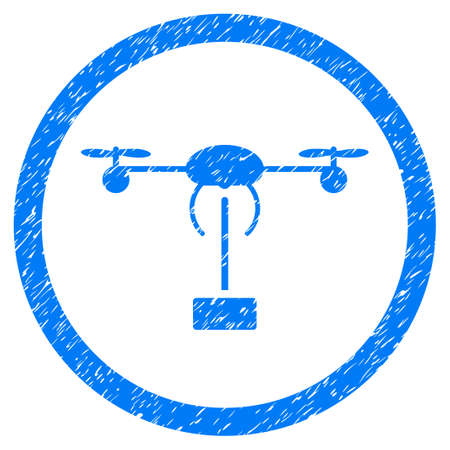 Copter Shipment grainy textured icon inside circle for overlay watermark stamps. Flat symbol with scratched texture. Illustration