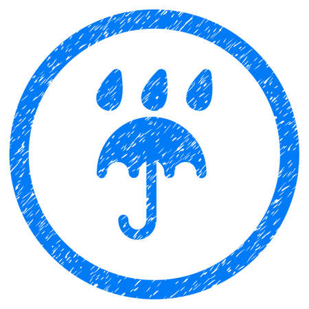 Rain Protection grainy textured icon inside circle for overlay watermark stamps. Flat symbol with dirty texture. Illustration