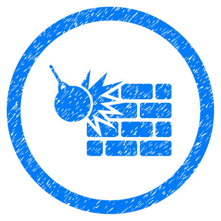 Wall Destruction grainy textured icon inside circle for overlay watermark stamps. Flat symbol with dirty texture.