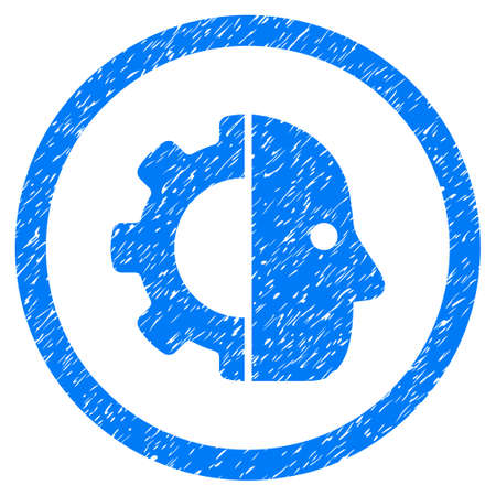 Cyborg grainy textured icon inside circle for overlay watermark stamps. Flat symbol with scratched texture. Circled dotted raster blue ink rubber seal stamp with grunge design on a white background.