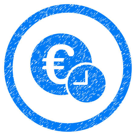 Euro Credit grainy textured icon inside circle for overlay watermark stamps. Flat symbol with unclean texture.