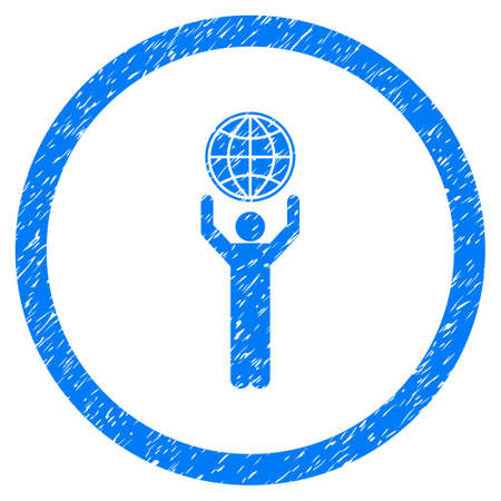 Globalist grainy textured icon inside circle for overlay watermark stamps. Flat symbol with unclean texture. Circled dotted raster blue ink rubber seal stamp with grunge design on a white background.
