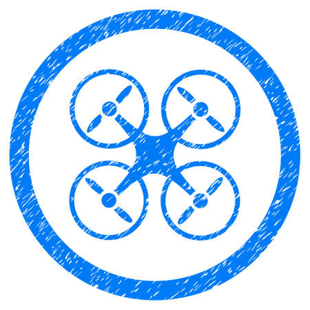Nanocopter grainy textured icon inside circle for overlay watermark stamps. Flat symbol with dust texture. Circled dotted raster blue ink rubber seal stamp with grunge design on a white background. Stock Photo