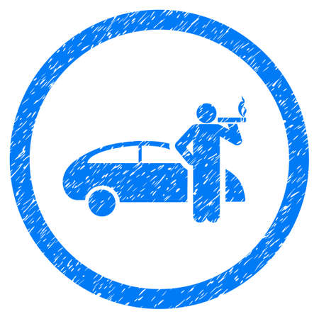 Smoking Taxi Driver grainy textured icon inside circle for overlay watermark stamps. Flat symbol with scratched texture.