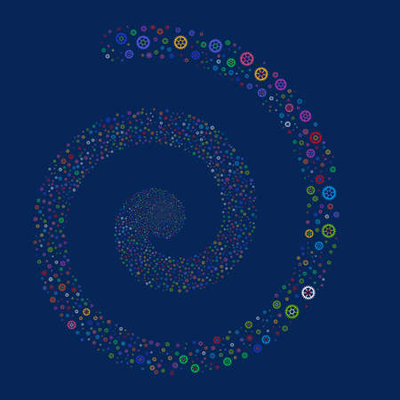 Clock Wheel fireworks swirl spiral. Vector illustration style is flat bright multicolored scattered symbols. Object swirling made from scattered pictograms.