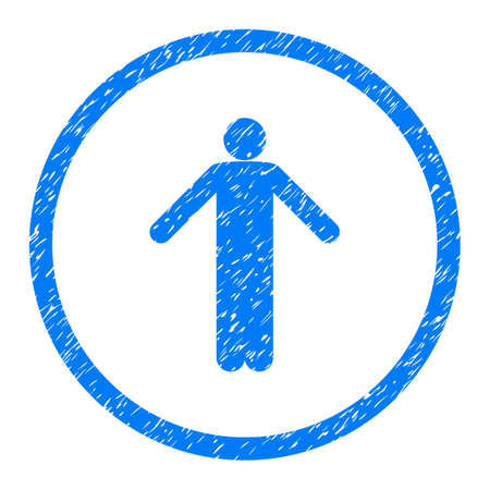 ignorance: Ignorance Person Pose grainy textured icon inside circle for overlay watermark stamps. Flat symbol with unclean texture. Illustration