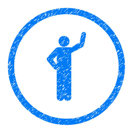 Assurance Person Pose grainy textured icon inside circle for overlay watermark stamps. Flat symbol with scratched texture. Illustration