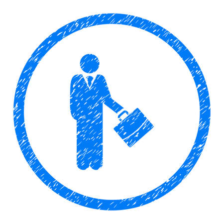 Businessman grainy textured icon inside circle for overlay watermark stamps. Flat symbol with dust texture. Circled dotted vector blue ink rubber seal stamp with grunge design on a white background. Illustration