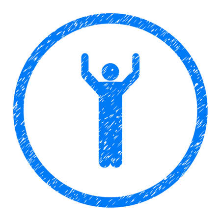 Hands Up Person Pose grainy textured icon inside circle for overlay watermark stamps. Flat symbol with unclean texture.
