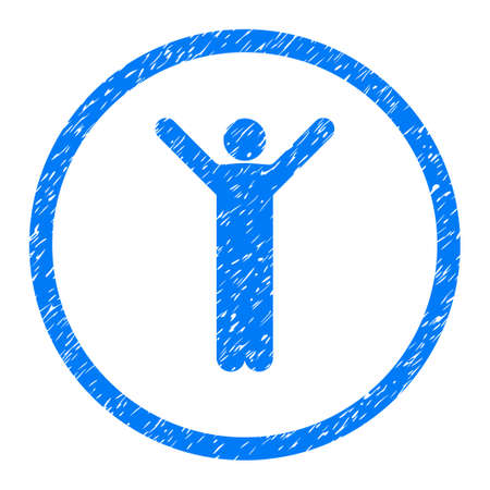 Happy Person Pose grainy textured icon inside circle for overlay watermark stamps. Flat symbol with unclean texture.