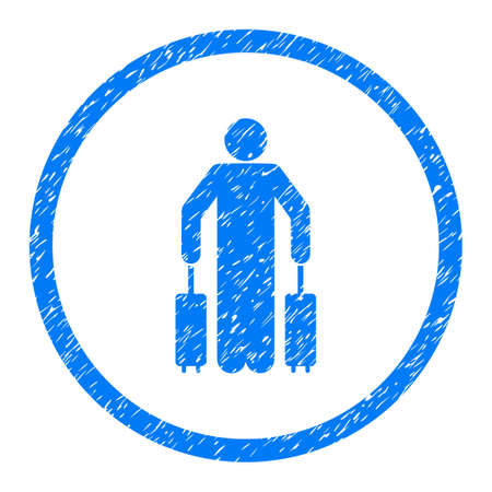 Passenger Baggage grainy textured icon inside circle for overlay watermark stamps. Flat symbol with scratched texture.
