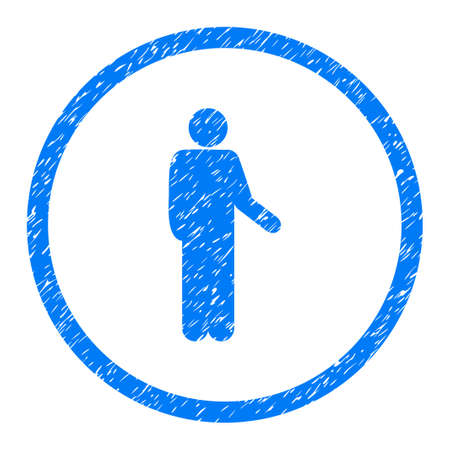 Relax Person Pose grainy textured icon inside circle for overlay watermark stamps. Flat symbol with dust texture. Illustration