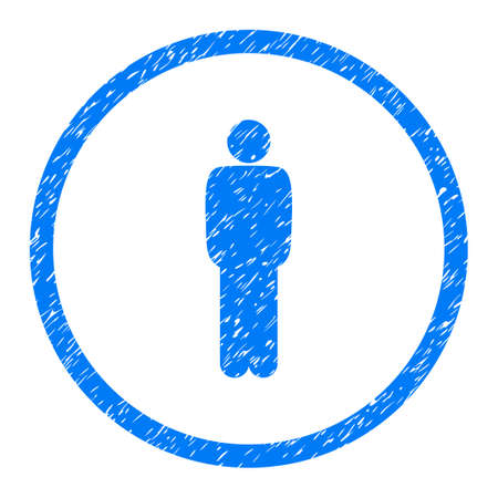 Standing Person Pose grainy textured icon inside circle for overlay watermark stamps. Flat symbol with scratched texture. Illustration