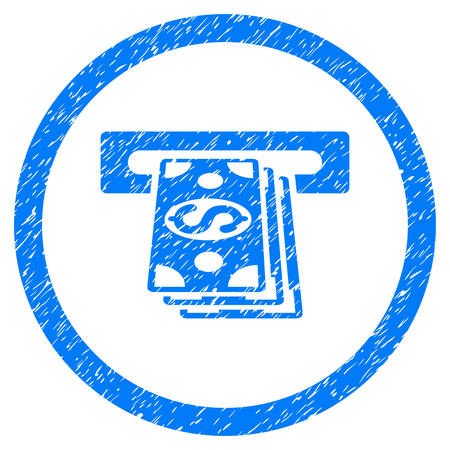 automatic transaction machine: ATM Cashout grainy textured icon inside circle for overlay watermark stamps. Flat symbol with scratched texture. Circled vector blue rubber seal stamp with grunge design.