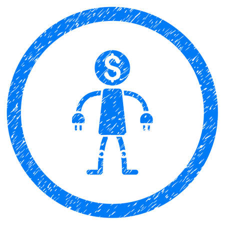 marca libros: Bank Robot grainy textured icon inside circle for overlay watermark stamps. Flat symbol with scratched texture. Circled vector blue rubber seal stamp with grunge design.