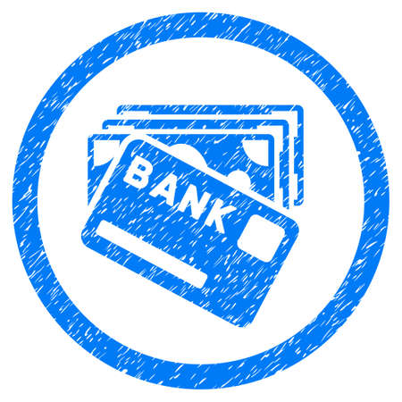Credit Money grainy textured icon inside circle for overlay watermark stamps. Flat symbol with scratched texture. Circled vector blue rubber seal stamp with grunge design.