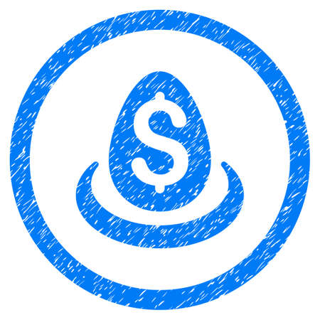 Dollar Deposit Egg grainy textured icon inside circle for overlay watermark stamps. Flat symbol with scratched texture. Circled vector blue rubber seal stamp with grunge design.