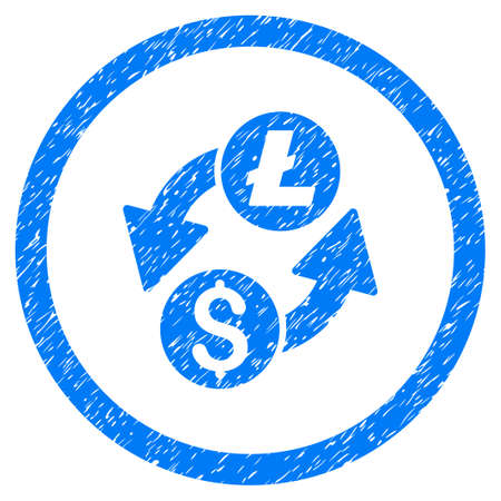 Dollar Litecoin Exchange grainy textured icon inside circle for overlay watermark stamps. Flat symbol with unclean texture. Circled vector blue rubber seal stamp with grunge design. Illustration