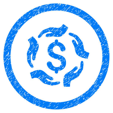 Dollar Care Hands grainy textured icon inside circle for overlay watermark stamps. Flat symbol with scratched texture. Circled vector blue rubber seal stamp with grunge design.