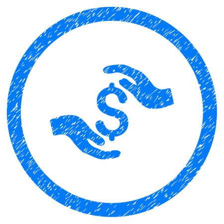 Dollar-Sorgfalt-Hände körniges strukturiertes Symbol innerhalb des Kreises für überlagernde Wasserzeichenstempel. Flaches Symbol mit zerkratzter Textur. Eingekreiste Vektor blau Gummidichtung Stempel mit Grunge-Design.