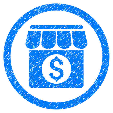 Market Building grainy textured icon inside circle for overlay watermark stamps. Flat symbol with dirty texture. Circled vector blue rubber seal stamp with grunge design. Illustration