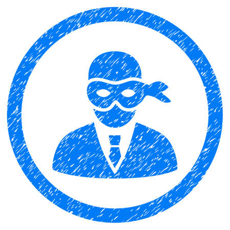 Masked Thief grainy textured icon inside circle for overlay watermark stamps. Flat symbol with dirty texture. Circled vector blue rubber seal stamp with grunge design.