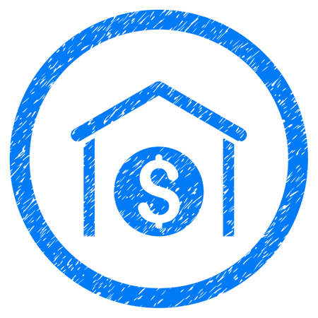 Money Storage grainy textured icon inside circle for overlay watermark stamps. Flat symbol with dust texture. Circled vector blue rubber seal stamp with grunge design. Illustration