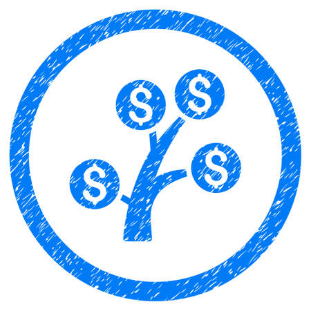 Money Tree grainy textured icon inside circle for overlay watermark stamps. Flat symbol with dust texture. Circled vector blue rubber seal stamp with grunge design.