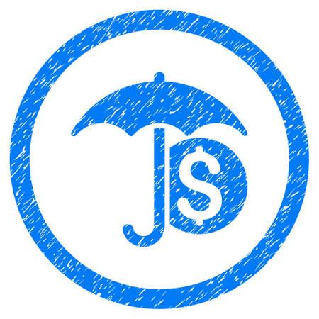 Geld-Regenschirm-Schutz körnige strukturierte Ikone innerhalb des Kreises für Überlagerungswasserzeichenstempel. Flaches Symbol mit Staubbeschaffenheit. Eingekreister Vektor blaue Gummidichtung Stempel mit Grunge-Design.