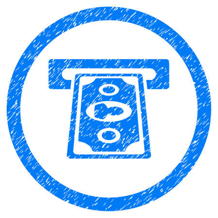 Payment Terminal grainy textured icon inside circle for overlay watermark stamps. Flat symbol with dust texture. Circled vector blue rubber seal stamp with grunge design. Illustration
