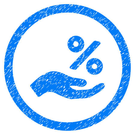 Percent Offer Hand grainy textured icon inside circle for overlay watermark stamps. Flat symbol with scratched texture. Circled vector blue rubber seal stamp with grunge design. Illustration