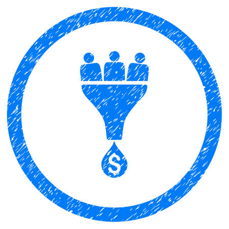 Sales Funnel grainy textured icon inside circle for overlay watermark stamps. Flat symbol with scratched texture. Circled vector blue rubber seal stamp with grunge design.