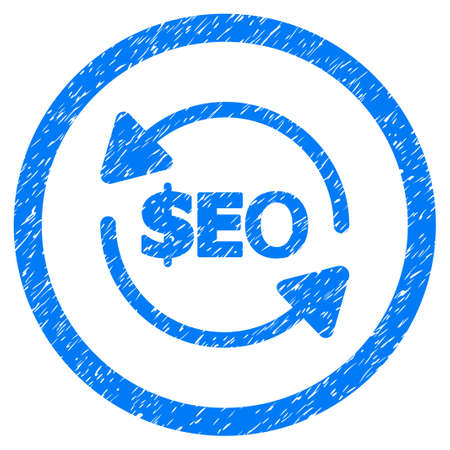Refresh Seo grainy textured icon inside circle for overlay watermark stamps. Flat symbol with unclean texture. Circled vector blue rubber seal stamp with grunge design.