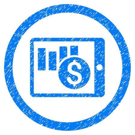 Sales Chart On PDA grainy textured icon inside circle for overlay watermark stamps. Flat symbol with unclean texture. Circled vector blue rubber seal stamp with grunge design.