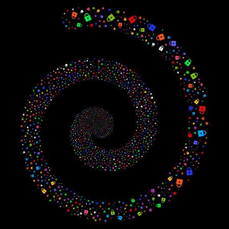 Lock fireworks vortex spiral. Vector bright multicolored random objects. Illustration