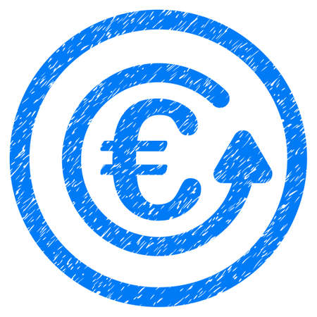 Rounded Euro Chargeback rubber seal stamp watermark. Icon symbol inside circle with grunge design and unclean texture. Unclean vector blue emblem.