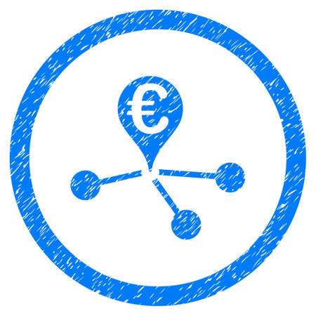 Rounded Euro Bank Branches rubber seal stamp watermark. Icon symbol inside circle with grunge design and dirty texture. Unclean vector blue emblem.
