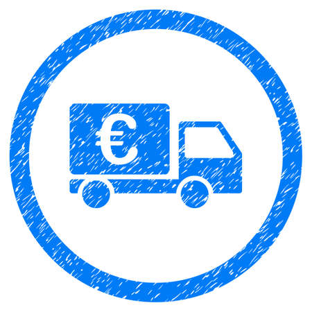 Rounded Euro Collector Car rubber seal stamp watermark. Icon symbol inside circle with grunge design and dust texture. Unclean vector blue sign.