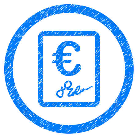 Rounded Euro Contract rubber seal stamp watermark. Icon symbol inside circle with grunge design and unclean texture. Unclean vector blue sign.