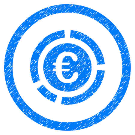 Rounded Euro Financial Diagram rubber seal stamp watermark. Icon symbol inside circle with grunge design and dust texture. Unclean vector blue emblem. Illustration