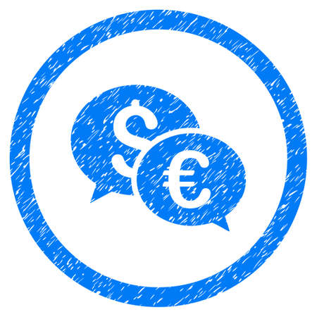 Rounded Euro And Dollar Transactions rubber seal stamp watermark. Icon symbol inside circle with grunge design and dirty texture. Unclean raster blue sign.