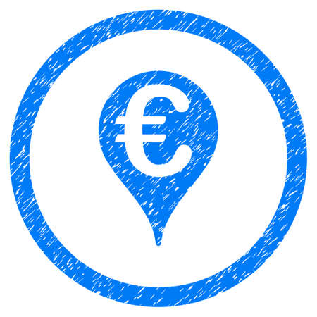 market place: Rounded Euro Bank Map Pointer rubber seal stamp watermark. Icon symbol inside circle with grunge design and dirty texture. Unclean vector blue sign. Illustration
