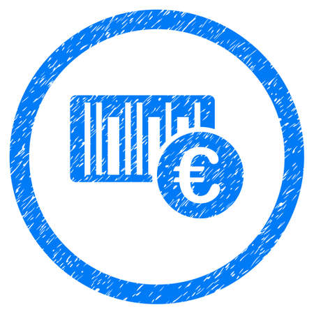 codigos de barra: Rounded Euro Barcode rubber seal stamp watermark. Icon symbol inside circle with grunge design and scratched texture. Unclean vector blue sign. Vectores