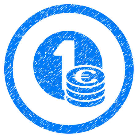 Rounded Euro Coins rubber seal stamp watermark. Icon symbol inside circle with grunge design and unclean texture. Unclean vector blue emblem.